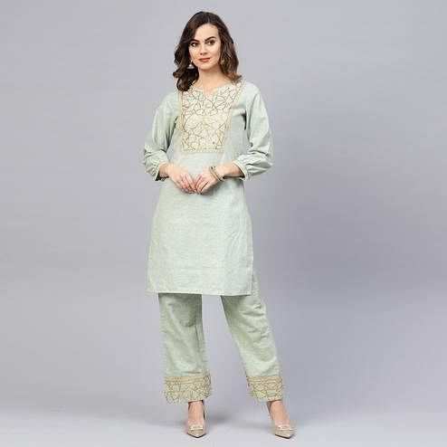 Delightful Pista Green Colored Party Wear Embroidered Cotton Kurti-Pant Set