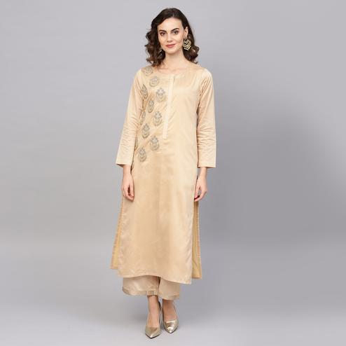 Engrossing Beige Colored Party Wear Embroidered Art Silk Kurti-Palazzo Set