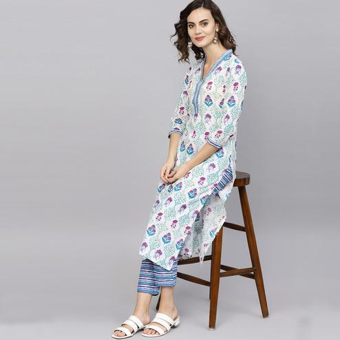 Captivating Off White Colored Casual Wear Printed Cotton Kurti-Pant Set