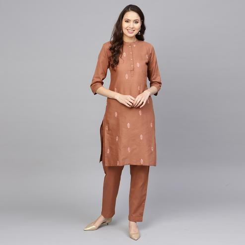 Innovative Brown Colored Party Wear Floral Embroidered Cotton Kurti-Pant Set