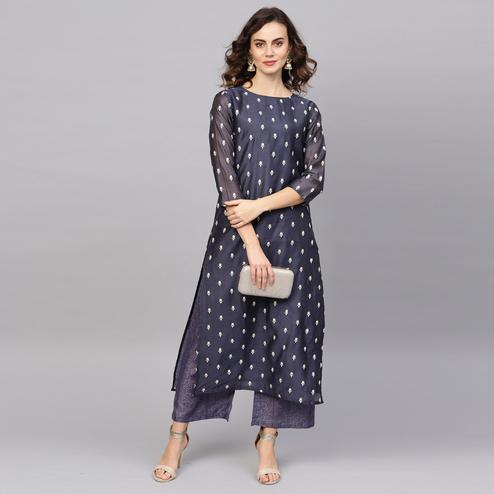 Fantastic Navy Blue Colored Party Wear Embroidered Art Silk Kurti-Palazzo Set