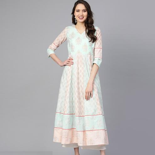 Beautiful Ligth Blue Colored Party Wear Printed Cotton Kurti