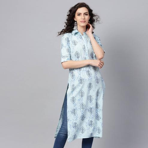 Graceful Blue Colored Casual Wear Printed Cotton Kurti