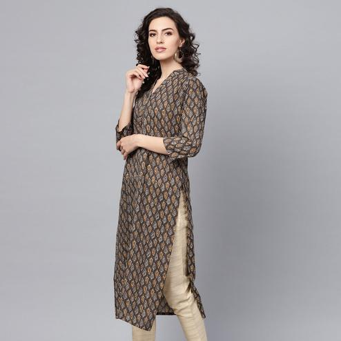 Charming Brown Colored Casual Wear Printed Cotton Kurti