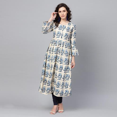 Jazzy Beige Colored Casual Wear Printed Cotton Kurti