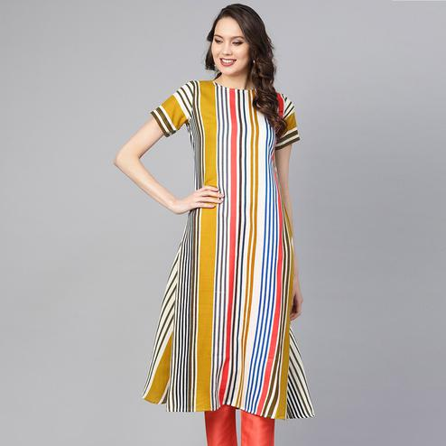 Delightful Multi Colored Casual Wear Printed Cotton Kurti