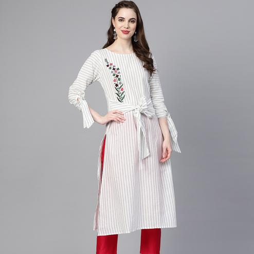 Innovative White Colored Party Wear Floral Embroidered Cotton Kurti