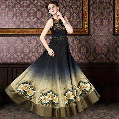 Black - Cream Floral Print Designer Anarkali Gown