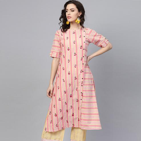 Fantastic Pink Colored Party Wear Printed Cotton Kurti