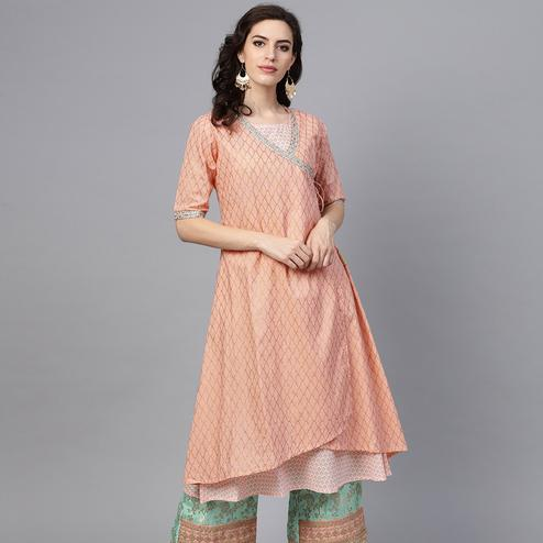 Amazing Pink Colored Party Wear Printed Fancy Cotton Kurti