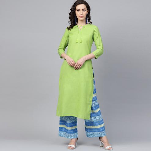 Gorgeous Green Colored Casual Wear Cotton Kurti