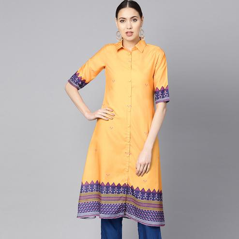 Ideal Mustard Yellow Colored Casual Wear Printed Modal Kurti