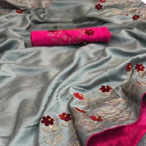 Ravishing Grey Colored Partywear Embroidered Zoya Silk Saree
