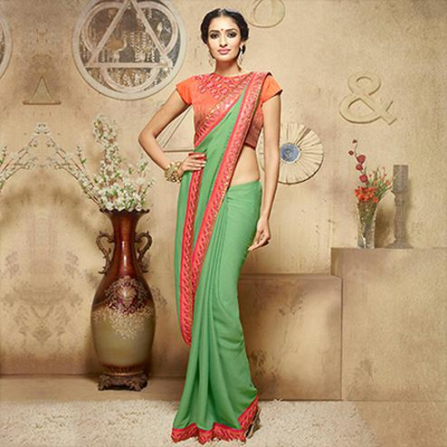 Light Green - Orange Floral Border Saree