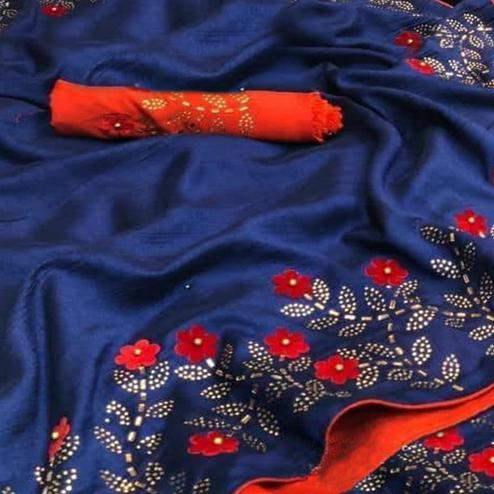 Flamboyant Blue Colored Partywear Embroidered Zoya Silk Saree