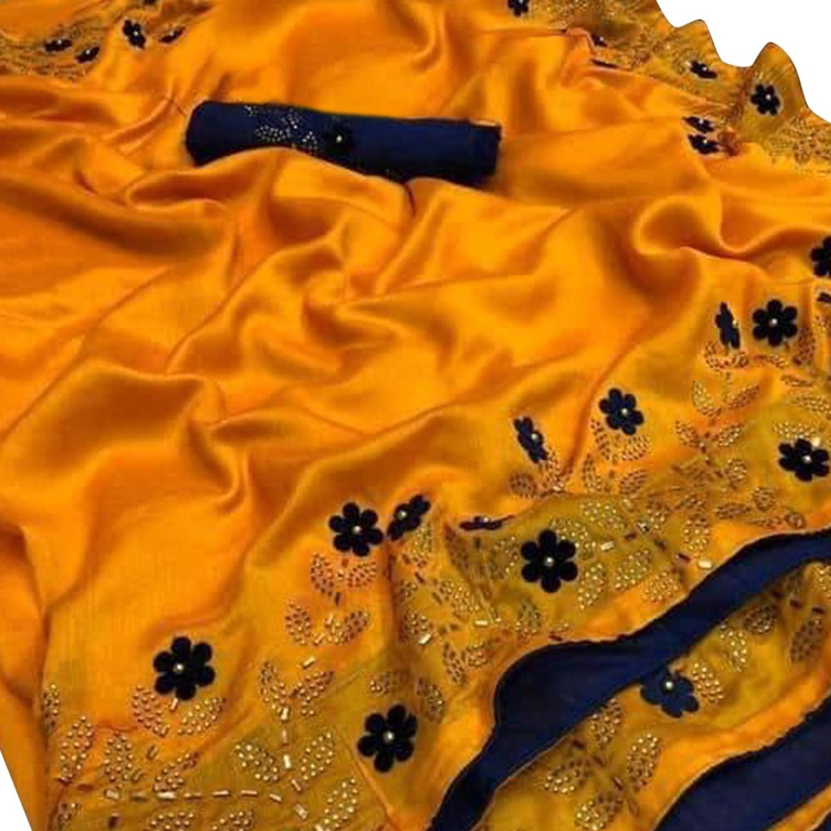 Pleasance Yellow Colored Partywear Embroidered Zoya Silk Saree