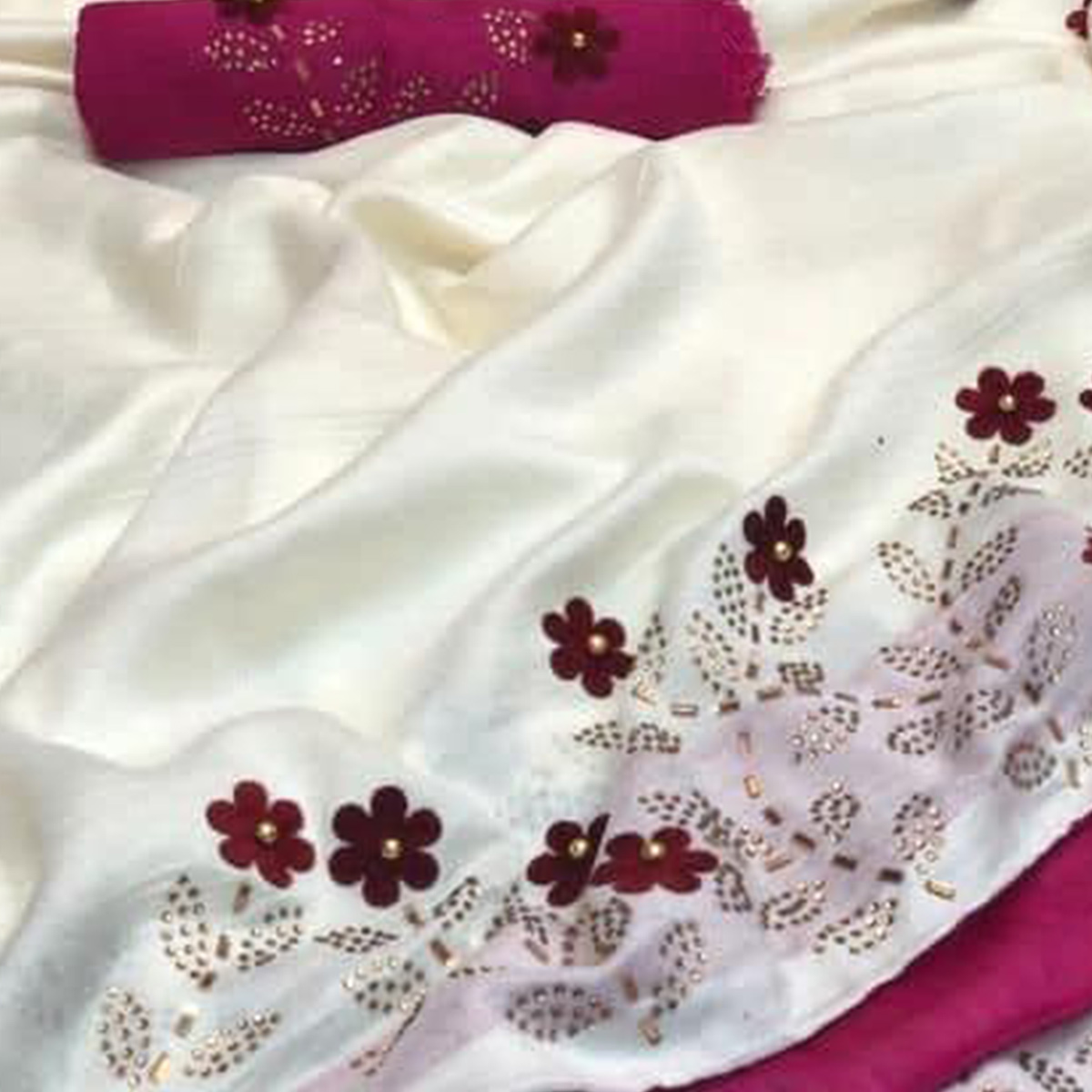 Marvellous White Colored Partywear Embroidered Zoya Silk Saree