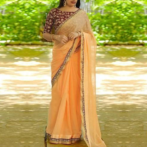 Preferable Peach Colored Partywear Embroidered Rangoli Silk Saree