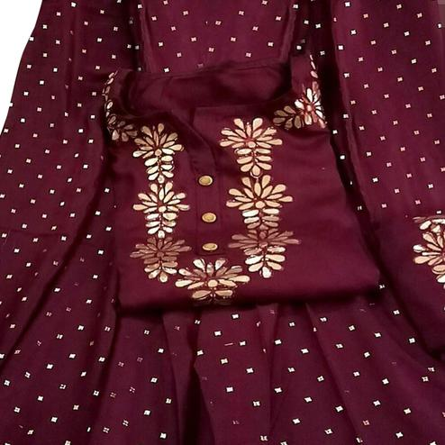 Radiant Maroon Colored Partywear Gota Embroidered Rayon Palazzo Suit