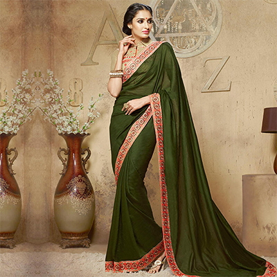 Plain Green Patch Border Work Saree