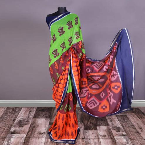 Excellent Multi Colored Casual Printed Art Silk Saree