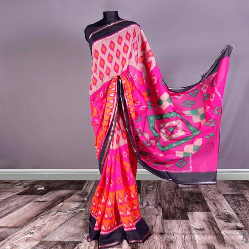 Flattering Pink Colored Casual Printed Art Silk Saree