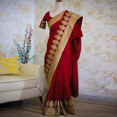 Lovely Maroon Colored Festive Wear Woven Rangoli Silk Saree