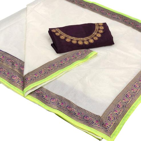 Hypnotic White Colored Festive Wear Woven Modal Saree