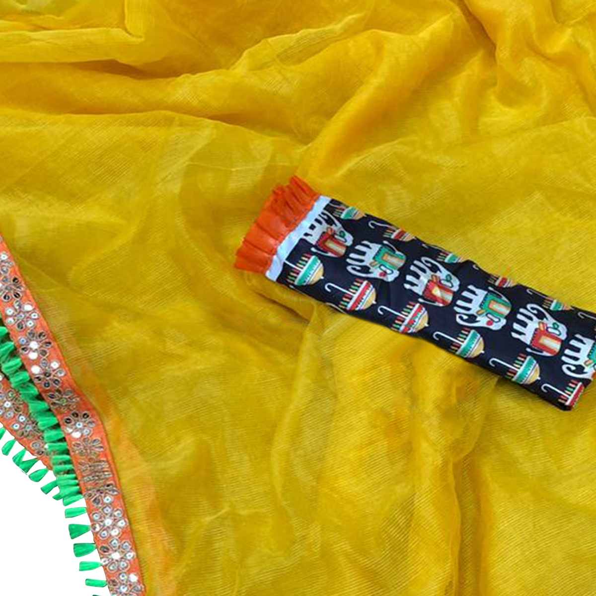 Magnetic Yellow Colored Casual Wear Cotton Net Saree