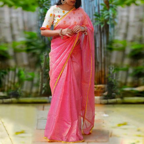 Glorious Pink Colored Casual Wear Cotton Net Saree