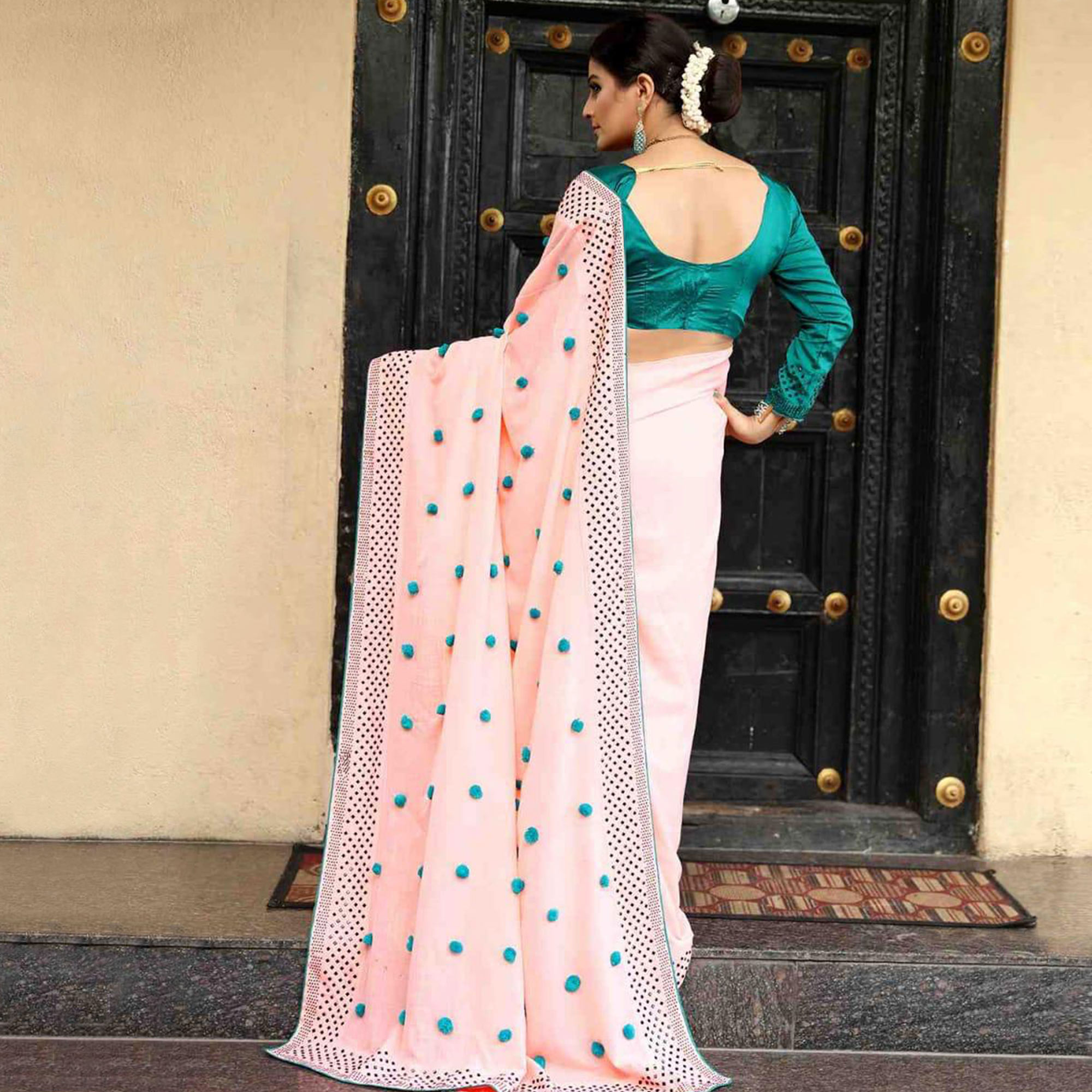 Imposing Pastel Pink Colored Partywear Embroidered Zoya Silk Saree
