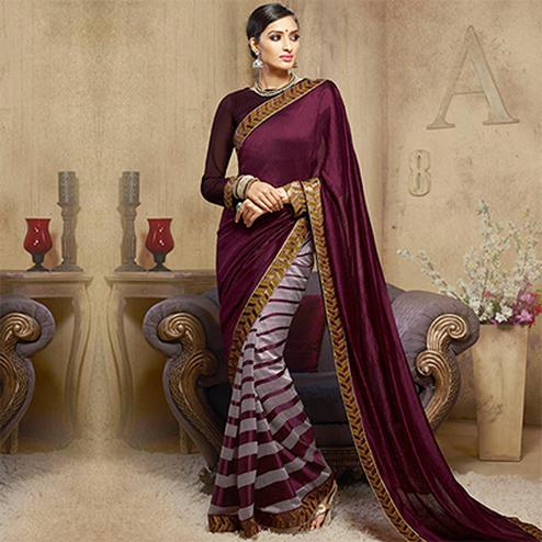 Wine & Grey Striped Pattern Saree