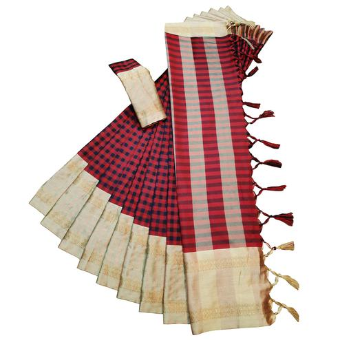 Gleaming Red Colored Festive Wear Woven Soft Cotton Silk Saree