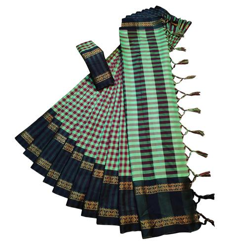 Demanding Aqua Green Colored Festive Wear Woven Soft Cotton Silk Saree