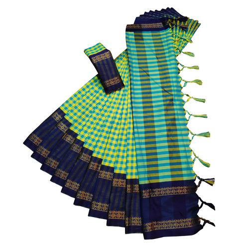 Refreshing Lemon Green Colored Festive Wear Woven Soft Cotton Silk Saree