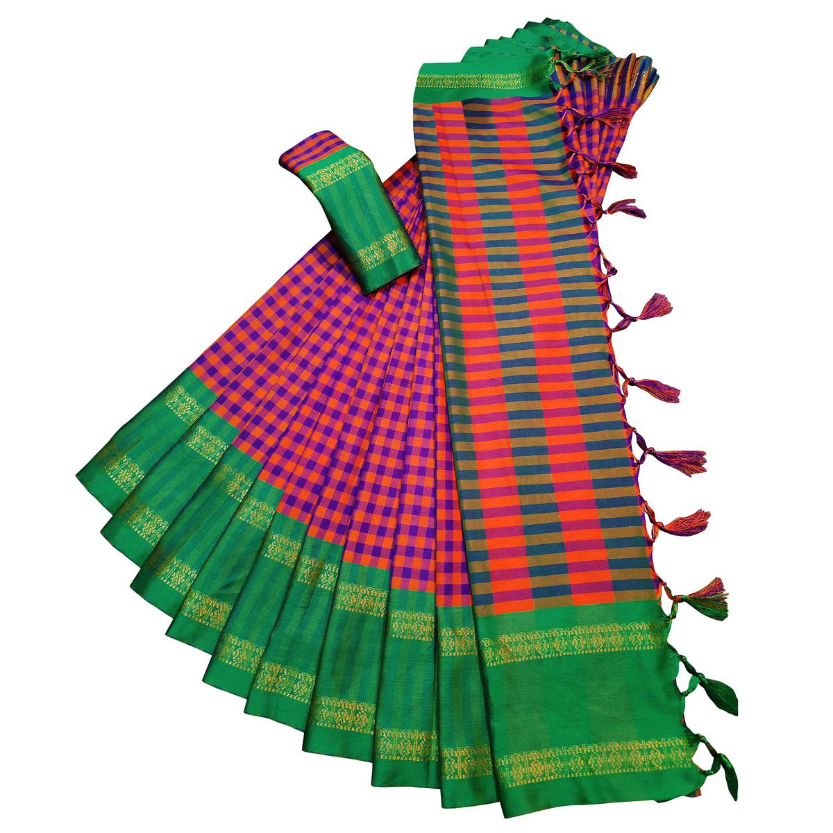 Gorgeous Orange-Green Colored Festive Wear Woven Soft Cotton Silk Saree