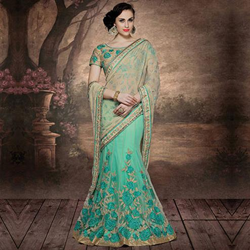 Beautiful Aqua Green - Beige Embroidered Lehenga Saree