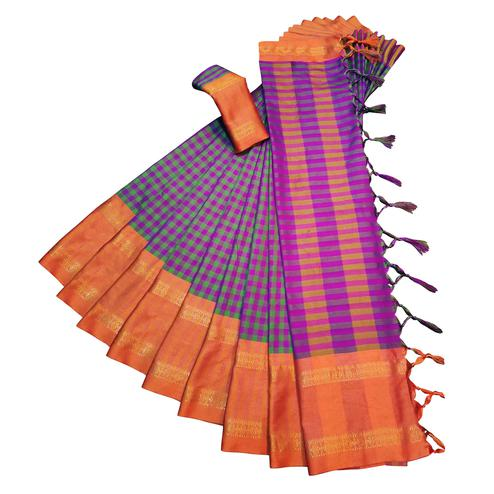 Innovative Violet Colored Festive Wear Woven Soft Cotton Silk Saree