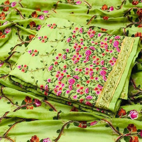 Trendy Green Colored Partywear Embroidered Modal Dress Material