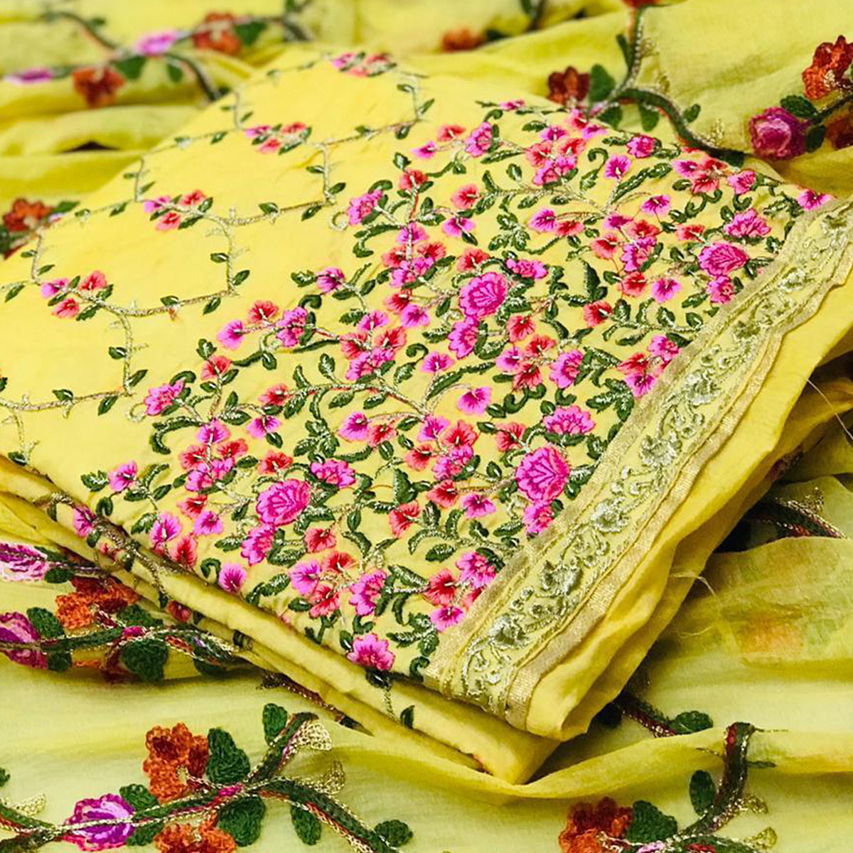 Elegant Yellow Colored Partywear Embroidered Modal Dress Material