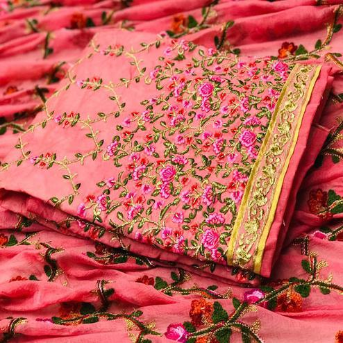 Radiant Pink Colored Partywear Embroidered Modal Dress Material