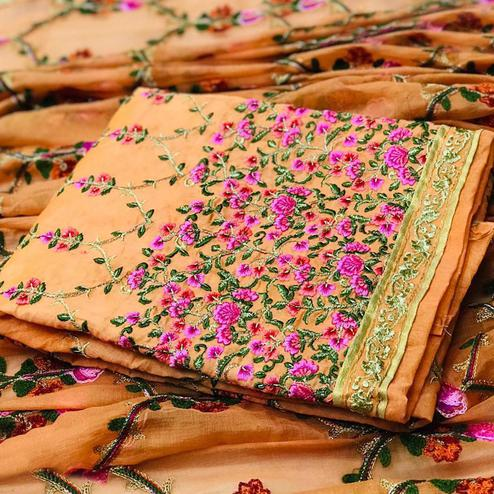 Pleasant Orange Colored Partywear Embroidered Modal Dress Material