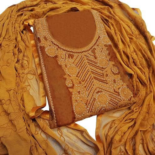 Exceptional Brown Colored Partywear Embroidered Cotton Dress Material