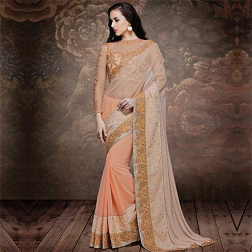 Sparkling Light Peach Zari Embroidered Saree