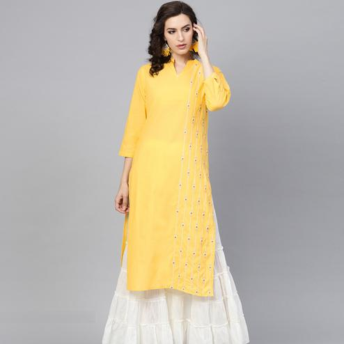 Beautiful Yellow Colored Party Wear Embroidered Cotton Kurti