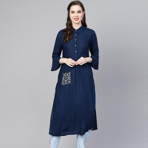 Graceful Navy Blue Colored Casual Wear Viscose-Rayon Kurti