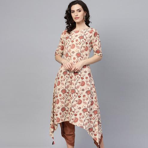Blooming Beige Colored Casual Wear Floral Printed Cotton Kurti