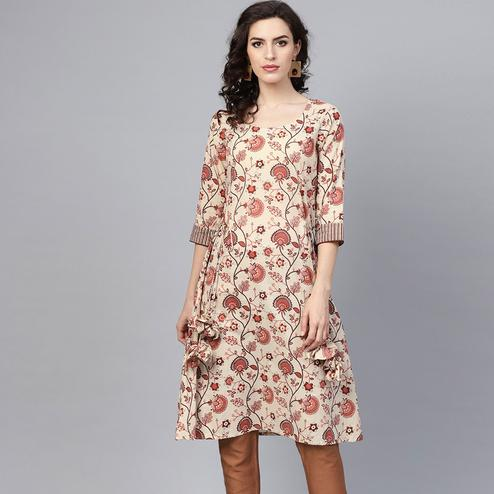 Charming Beige Colored Casual Wear Floral Printed Cotton Kurti