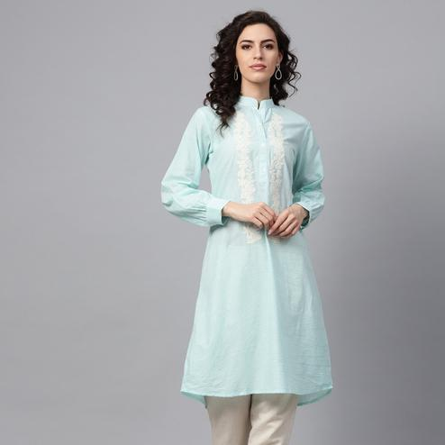 Jazzy Aqua Blue Colored Casual Wear Embroidered Cotton Kurti