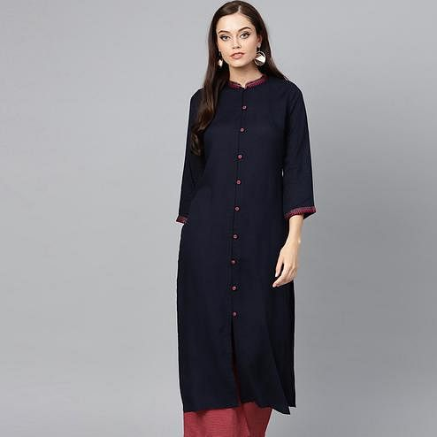 Delightful Navy Blue Colored Casual Wear Rayon Kurti